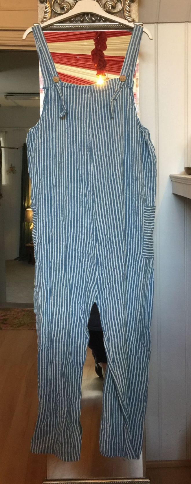 Cotton Dungarees - Stripey - Air Force Blue
